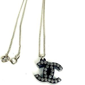 Chanel 05p Studded CC Necklace Black X Silver